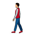 young man standing walking with casual clothes vector image
