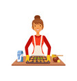 young woman baking cookies housewife girl cooking vector image vector image