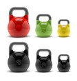 Collection of realistic classic kettlebells vector image