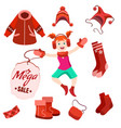 winter sale label with happy kid vector image