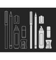 Stationery writing tools set Chalk vector image