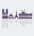 Paris city landmarks vector image