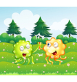 A green and an orange monster near the pine trees vector image vector image