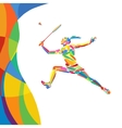 Abstract colorful pattern with Badminton player vector image vector image
