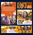 african safari animals sketch vector image