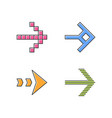 arrow types color icons set pixel shaped dashed vector image