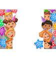 birthday design banner white blank with faces vector image vector image
