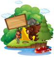 board template with camper and bear vector image vector image