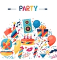 Celebration background with party icons and vector image vector image