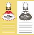 chef in hat design template for logo labels vector image