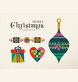 christmas and new year retro holiday ornament card vector image