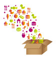 colorful pattern with food elements in carton box vector image