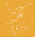 continuous line drawing of happy jumping woman vector image vector image