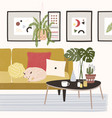 cute cozy room with cat sleeping on comfy sofa vector image vector image
