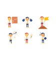 flat set of businessman in working actions vector image