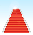 Front staircase and red carpet On blue sky backgro vector image