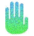halftone blue-green stop hand icon vector image vector image
