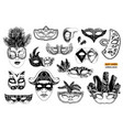 hand drawn venetian carnival masks collection vector image