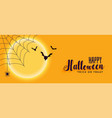 happy halloween banner with spider web and flying vector image
