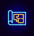 house plan neon sign vector image