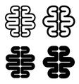 human brain black symbol vector image vector image