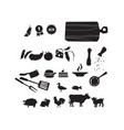 meat restaurant food icon set vector image vector image