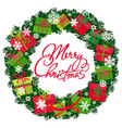 merry christmas text in the center of wreath with vector image