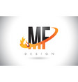 mf m f letter logo with fire flames design and vector image vector image