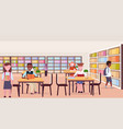 mix race pupils reading books sitting workplace vector image vector image