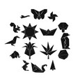origami icons set simple style vector image vector image
