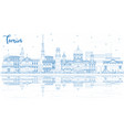 outline turin italy city skyline with blue vector image vector image