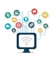 pc wifi connection social media design vector image