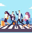people cross the road at crosswalk vector image vector image