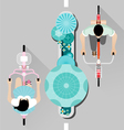 People riding a bicycle on street top view vector image vector image