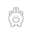 put coin in piggy bank linear icon on white vector image
