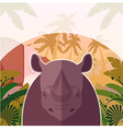 rhino on jungle background vector image