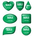 Saudi Arabia flag in various shape glossy button vector image