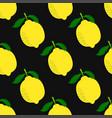 seamless pattern lemon isolated on black vector image vector image