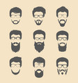 set different men hipster haircuts vector image