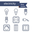 set line icons for diy electricity tools vector image