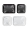 set of blank black and white styrofoam plastic vector image vector image
