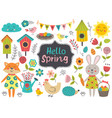 set of isolated spring elements and characters vector image