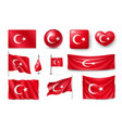 set turkey flags banners banners symbols flat vector image