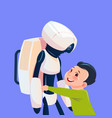 small boy playing with modern robot futuristic vector image vector image