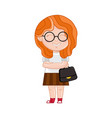 smiling little girl in glasses with ladies bag vector image vector image