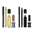 Stationery writing tools set Color Silhouette vector image vector image