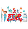 stop covid19-19 logo or banner with a doctor vector image vector image