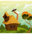 summer landscape with little house and tree vector image vector image