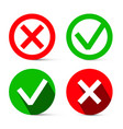 tick - cross red and green symbols check mark vector image vector image