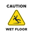 wet floor yellow sign with falling person vector image vector image